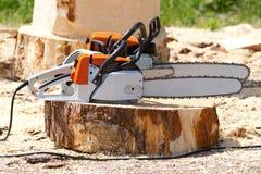 Orange chainsaws Royaltyfri Foto