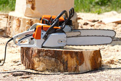 Orange chainsaws Royalty Free Stock Photo