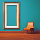 Orange chair with frame in minimalist interior Royalty Free Stock Photo