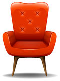Orange chair. Retro design chair with wooden legs Stock Photo