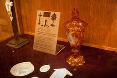 TRAKAI, LITHUANIA - JANUARY 02, 2013: Orange chalice with lid in Museum of Sacred Art. Orange chalice with lid in Museum of Sacred Art part of the Trakai stock image