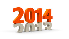 2013-2014 orange. 2013-2014 change represents the new year 2014, three-dimensional rendering vector illustration