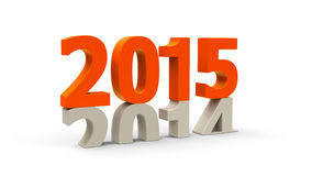 2014-2015 orange. 2014-2015 change represents the new year 2015, three-dimensional rendering Stock Photo