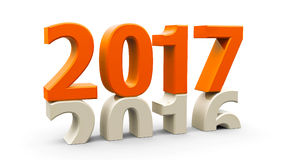 2016-2017 orange. 2016-2017 change represents the new year 2017, three-dimensional rendering, 3D illustration Royalty Free Illustration