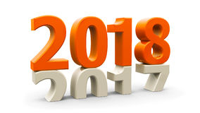 2017-2018 orange. 2017-2018 change represents the new year 2018, three-dimensional rendering, 3D illustration royalty free illustration
