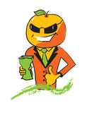 Orange character. Holding a juice pack Stock Images