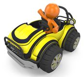 Orange character in dune buggy Stock Images