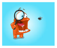 Orange character and fly Royalty Free Stock Photography