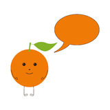 Orange character with speech bubble Stock Images