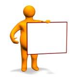 Orange Charakter with Board 3D Stock Images