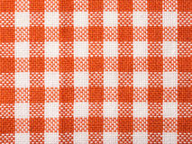 Orange Checked Kitchen Towel Texture. Close Up Stock Photo