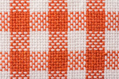 Orange Checked Kitchen Towel Texture. Close Up Stock Photos