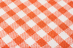 Orange Checked Kitchen Towel Texture. Close Up Royalty Free Stock Images
