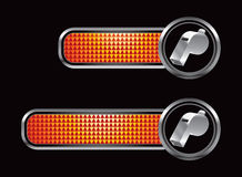 Orange checkered tabs with silver whistle Royalty Free Stock Photos