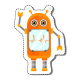 Orange Cheerful Cartoon Robot Character. Royalty Free Stock Image