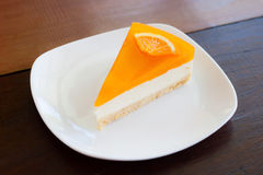 Orange cheese pie Stock Photos