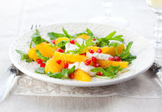 Orange and cheese salad Stock Photos