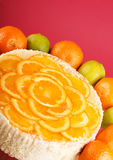 Orange cheesecake. On the table Stock Photography