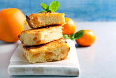 Orange cheesecake slices on board Royalty Free Stock Photography