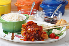 Orange Chicken on Oriental Platter Stock Image