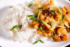 Orange chicken and rice Royalty Free Stock Images