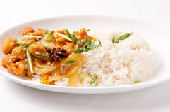 Orange chicken and rice. Spicy and tangy chicken glazed with orange over white rice with onion Stock Photography