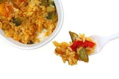 Orange Chicken Rice Vegetables on Fork Stock Images