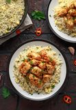 Orange Chicken Spicy sweet and sour with fried eggs rice royalty free stock image