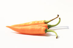 Orange chili peppers, Thailand. Orange chili peppers on a white background, Thailand Royalty Free Stock Image