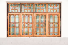 Orange Chinese windows. In temple Royalty Free Stock Photos