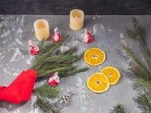 Orange Chips nahe bei den Niederlassungen der Fichte, eingewickelt mit roten dekorativen Spielwaren Lenka und des Weihnachten lizenzfreie stockfotos