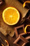 Orange with Chocolate Stock Photography