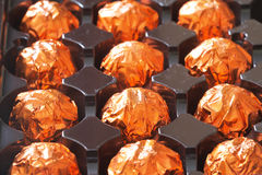 Orange chocolate in box Stock Photo
