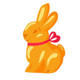 Orange Chocolate Bunny with Pink Ribbon Drawn Icon Royalty Free Stock Images