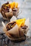 Orange chocolate cupcakes Stock Photography