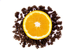 Orange with chocolate Royalty Free Stock Photo