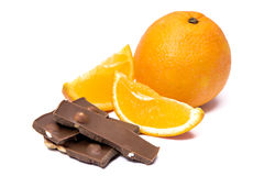 Orange with chocolate Royalty Free Stock Images
