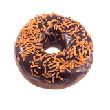 Orange chocolate donut isolated. Orange chocolate donut with sprinkles isolated on white background top view Stock Images