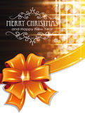 Orange Christmas background with bow. Christmas and New Year background with orange bow and ribbon Royalty Free Stock Photography