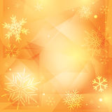 Orange christmas vector background with snowflakes Stock Images