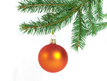 Orange christmas ball. Orange glass ball hung on the Christmas tree. On the white background Royalty Free Stock Photography