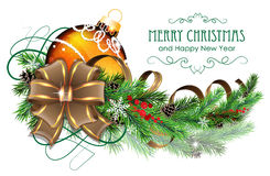 Orange Christmas ball with brown bow and fir branches. Christmas ornaments with bow, ribbon and fir tree branches on white background Stock Image