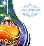 Orange Christmas ball with fir branches Stock Photos