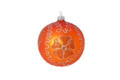 Orange christmas ball isolated Stock Images