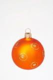 Orange christmas ball - orange weihnachtskugel. Orange christmas ball with gold print on it - orange weihnachtskugel mit goldenem Aufdruck stock photos