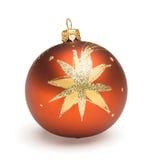 Orange Christmas ball. Christmas tree decoration orange ball isolated on white backrground Royalty Free Stock Photo