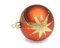 Orange Christmas ball. Christmas tree decoration orange ball isolated on white backrground Stock Photography