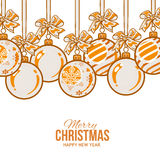 Orange Christmas balls with ribbon and bows, greeting card template Royalty Free Stock Photography
