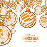 Orange Christmas balls with ribbon and bows, greeting card template Royalty Free Stock Image
