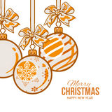 Orange Christmas balls with ribbon and bows, greeting card template Stock Photo